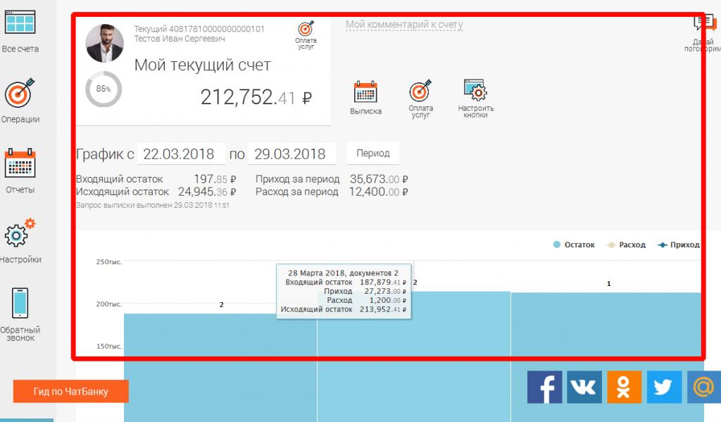 Информация по счету в личном кабинете Совкомбанка